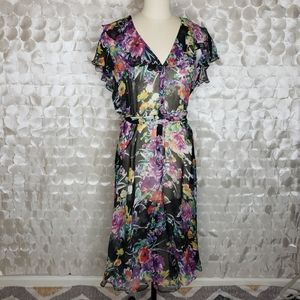 Lauren Ralph Lauren Floral Silk Ruffle Dress Sz 12